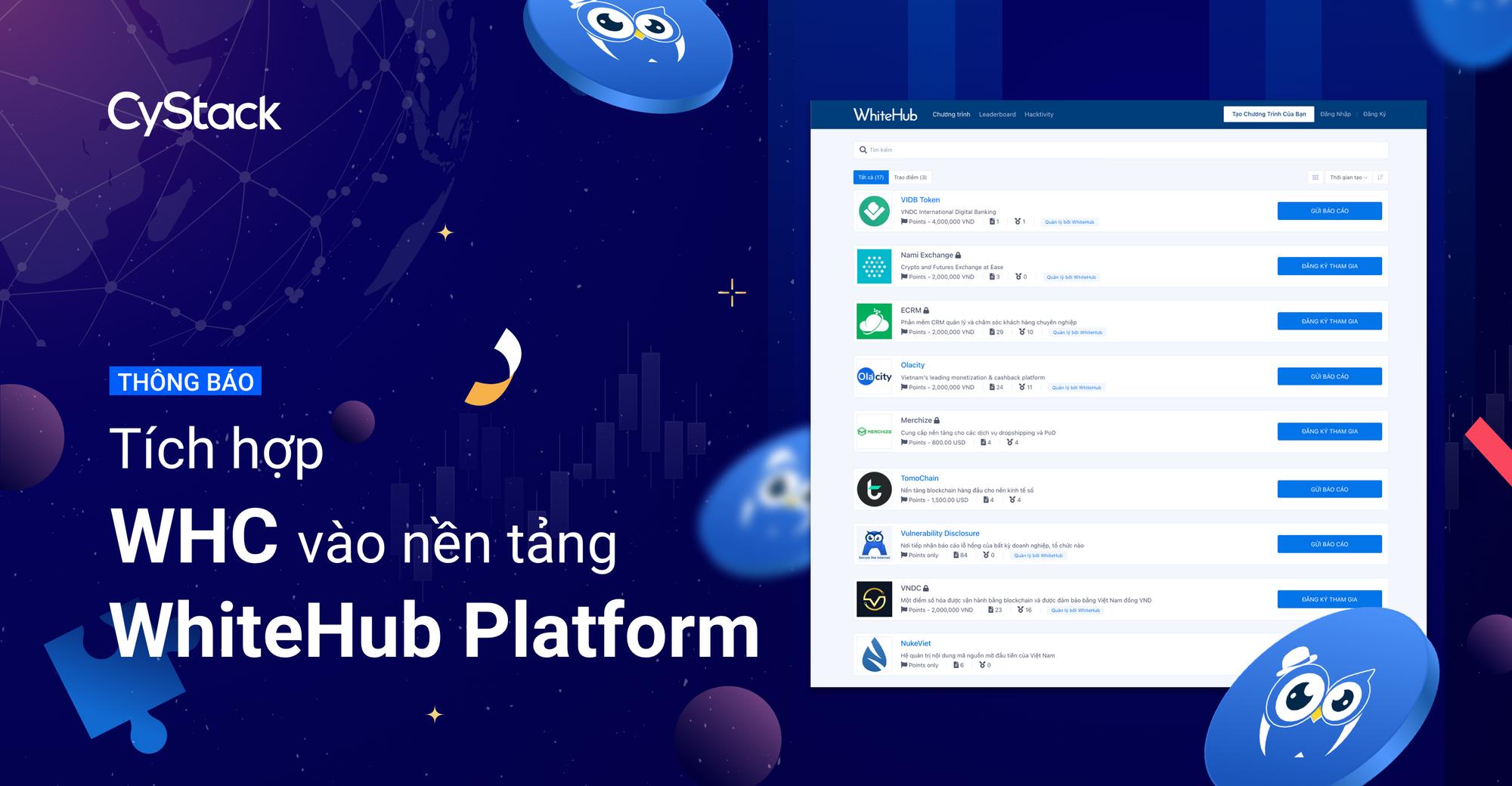 Thông báo: Tích hợp WHC vào nền tảng WhiteHub Platform